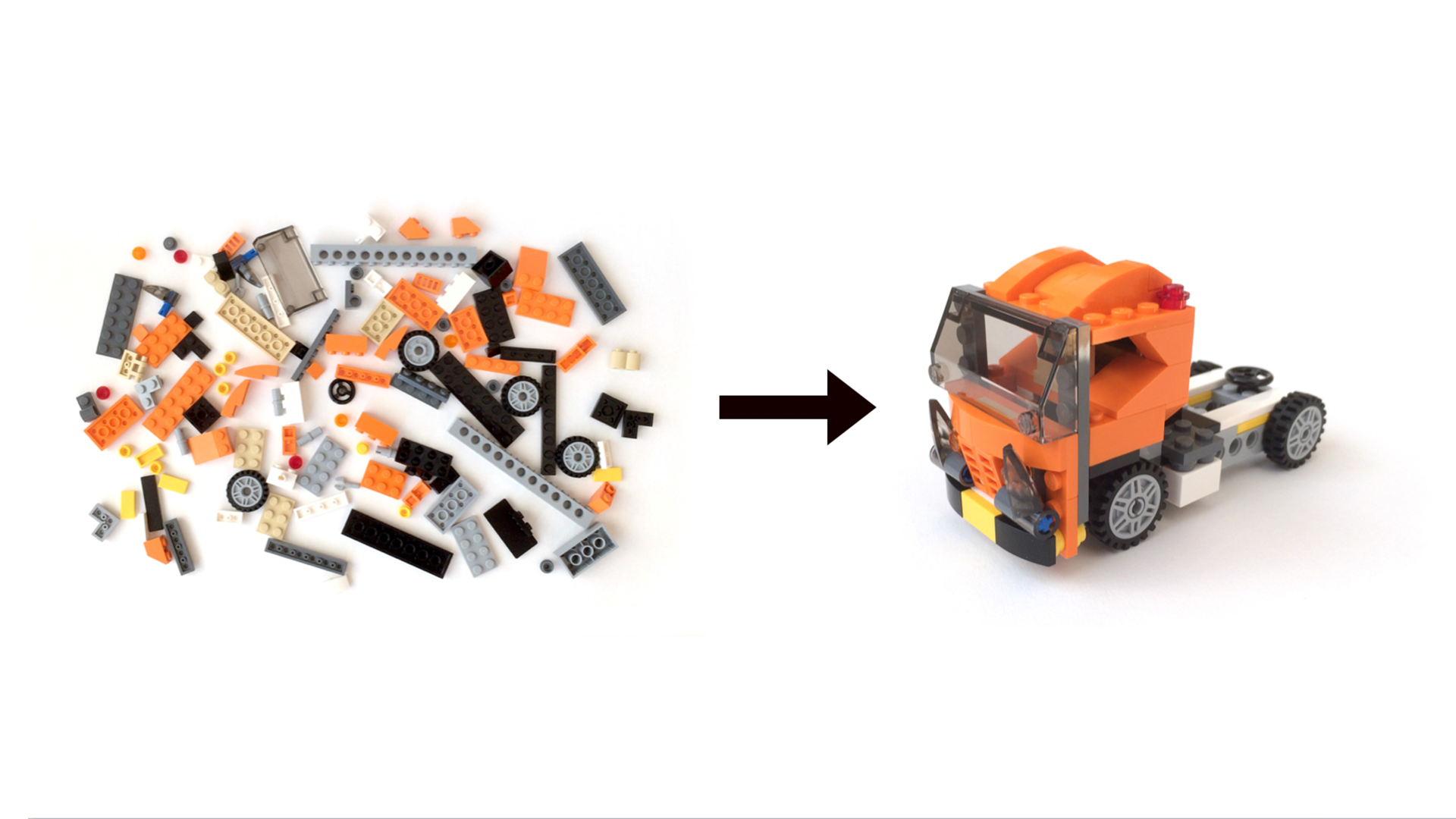 One way to approach a Lego project is to simply dump the pieces out onto a table, and rummage through the pile to find the pieces you need. Image adapted from *Multiscreen UX Design* by Wolfram Nagel.
