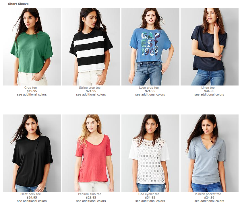 A product grid organism on Gap's e-commerce website consists of the same product item molecule repeated again and again.