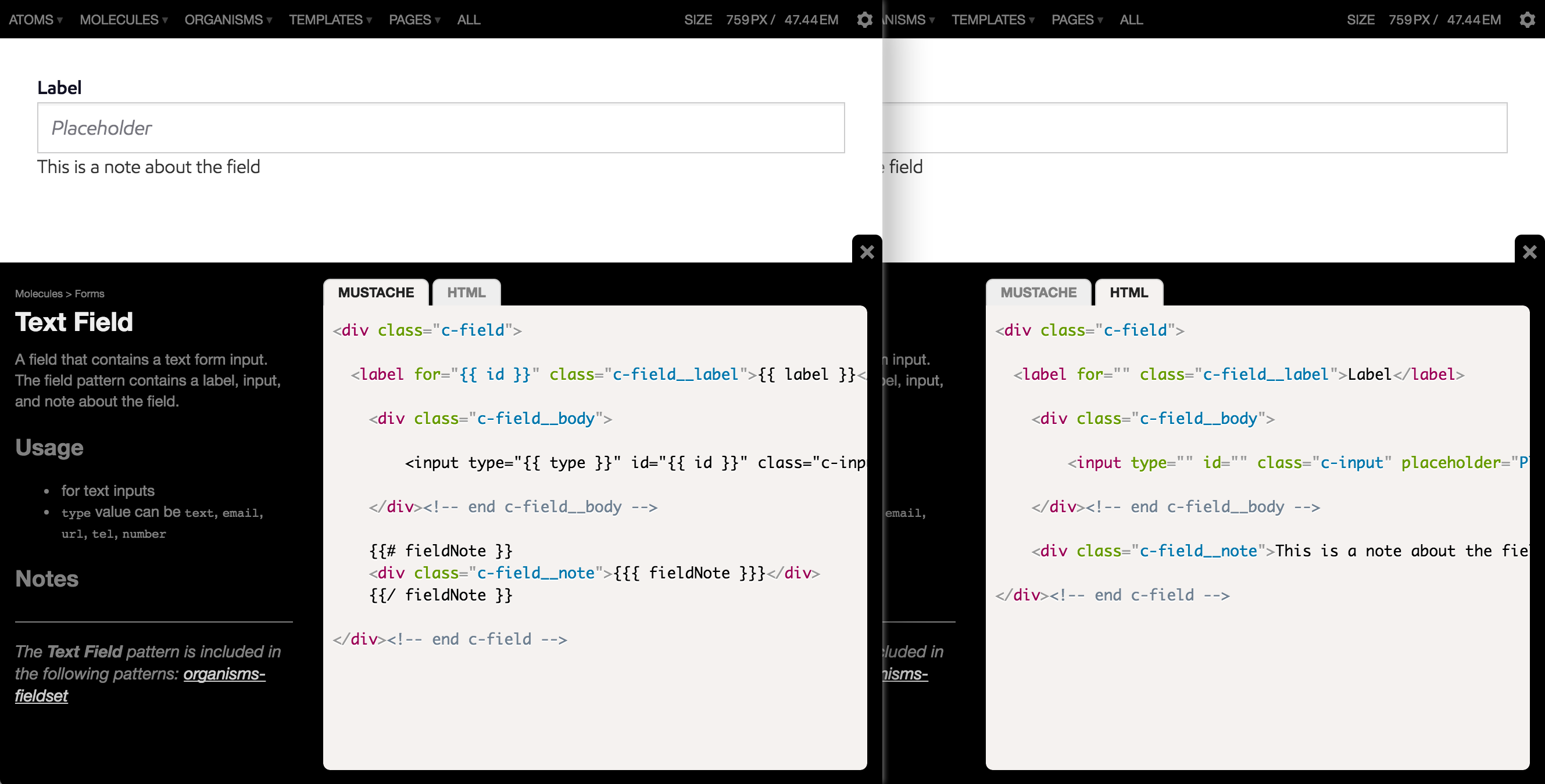 Pattern Lab's code view demonstrates both a pattern's template code and the compiled HTML.