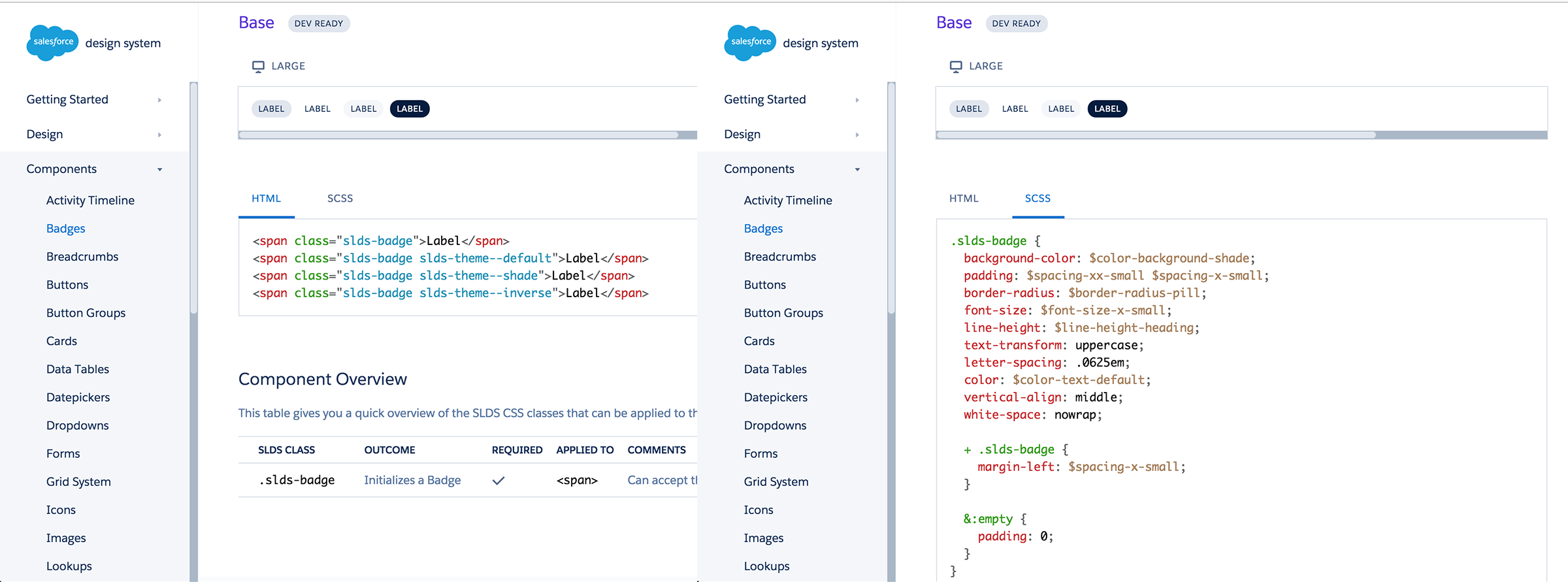 Salesforce's Lightning design system showcases the UI components' HTML and SCSS code.