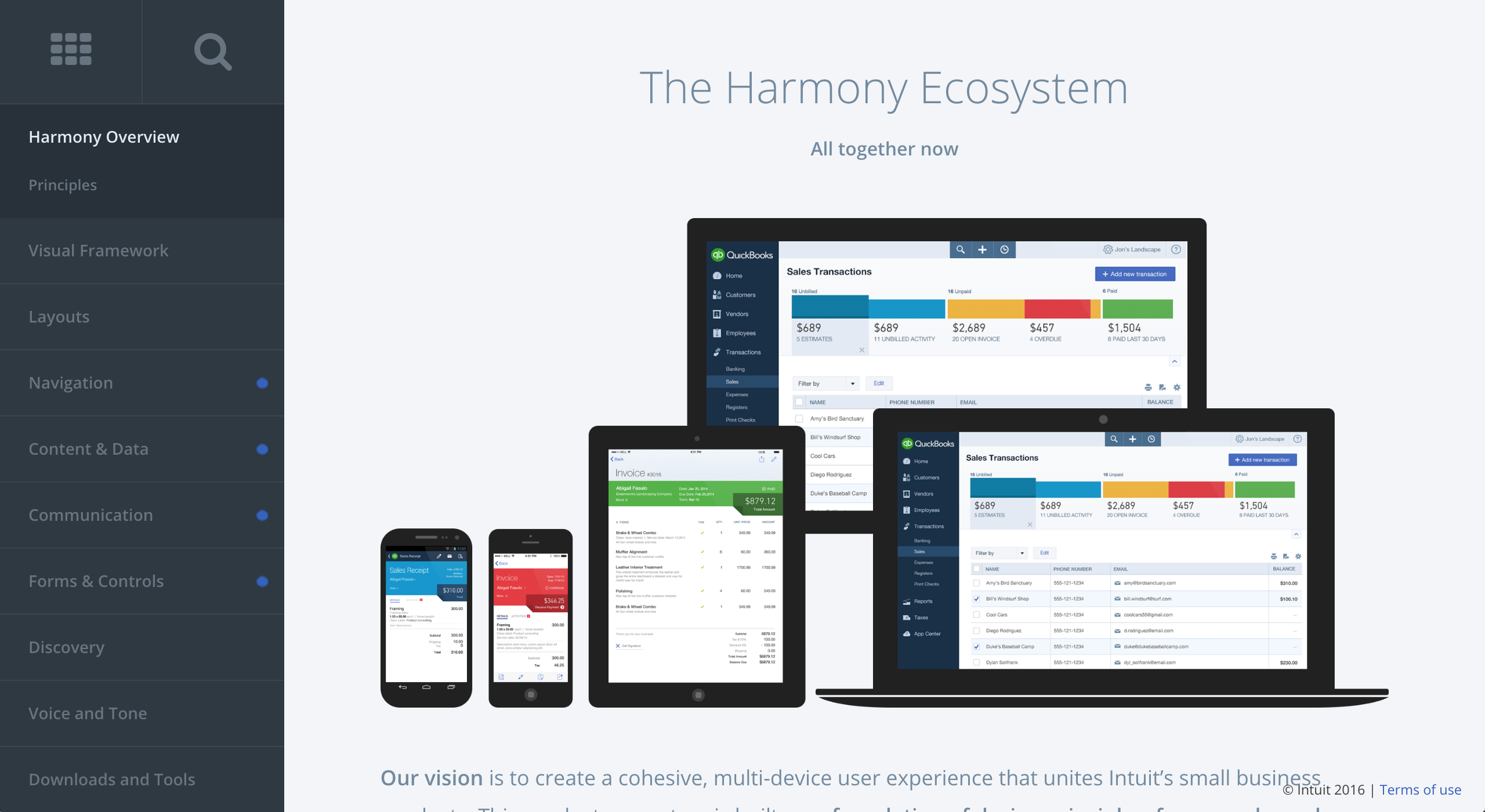 Intuit's Harmony design system includes a pattern library, design principles, voice and tone, marketing guidelines, and more. Housing this helpful documentation under one roof helps increase its visibility and effectiveness.