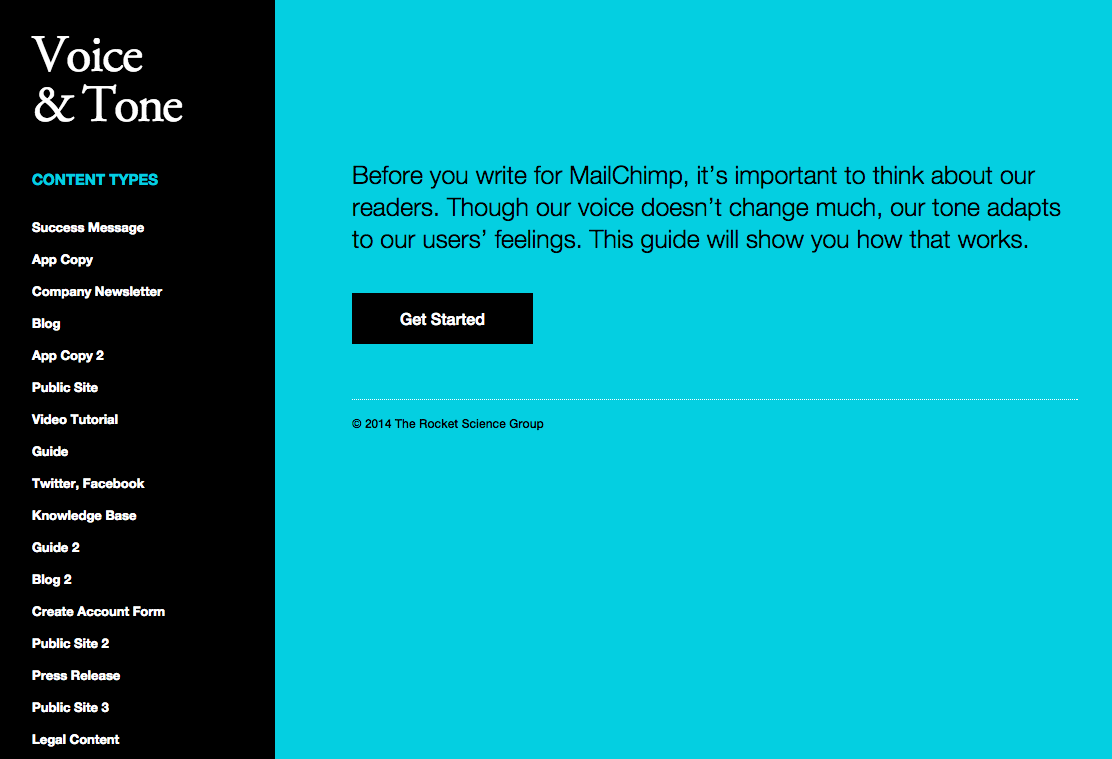 MailChimp's Voice and Tone guidelines