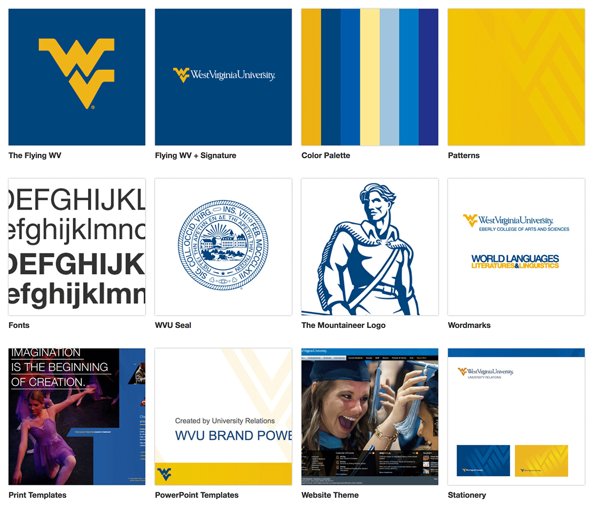 West Virginia University's brand style guide.