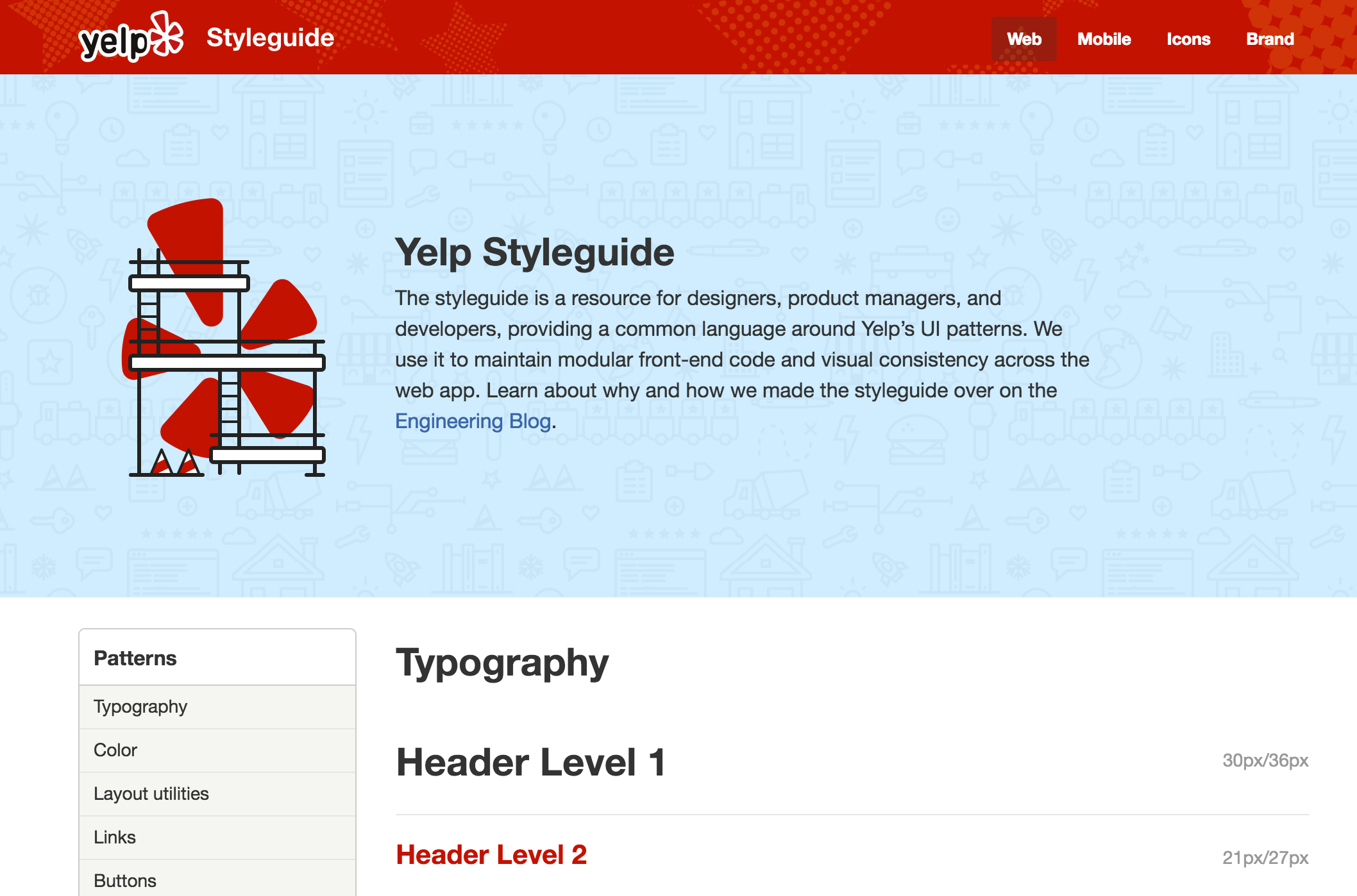 Yelp's style guide homepage sports a handsome design and important intro text explaining the purpose and audience for the guide.