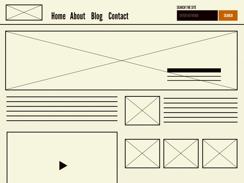 The homepage template consists of organisms and molecules applied to a layout.